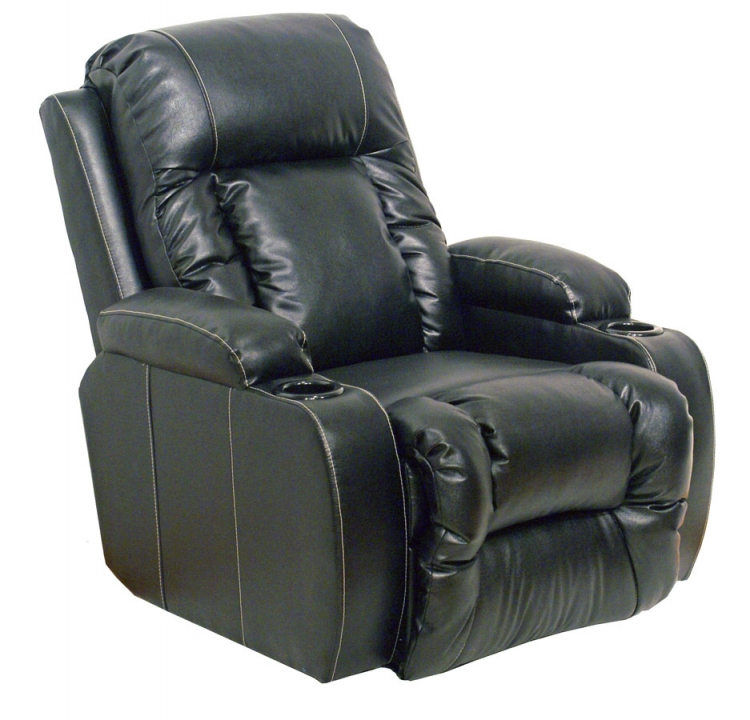 Top Gun Bonded Leather Inch-Away Wall Hugger Home Theater Recliner - Black - Catnapper