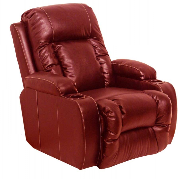 Top Gun Bonded Leather Power Home Theater Recliner - Red