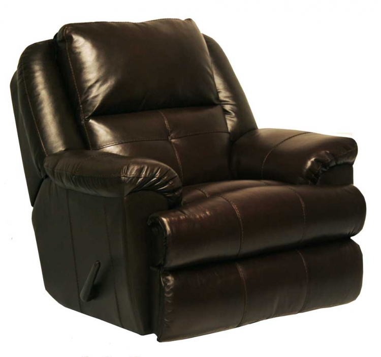 Crosby Top Grain Leather Chaise Swivel Glider Recliner - Mahogany - Catnapper