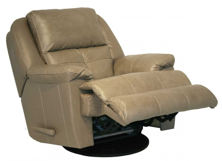 Crosby Top Grain Leather Chaise Swivel Glider Recliner - Mushroom