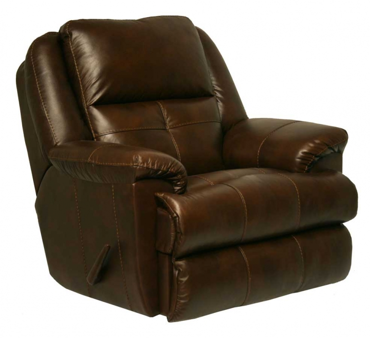 Crosby Top Grain Leather Chaise Swivel Glider Recliner - Tobacco - Catnapper