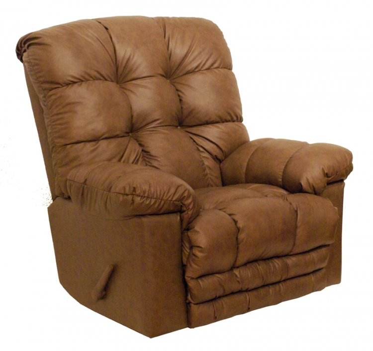 Cloud Ten Leather Chaise Rocker Recliner - Mushroom - Catnapper