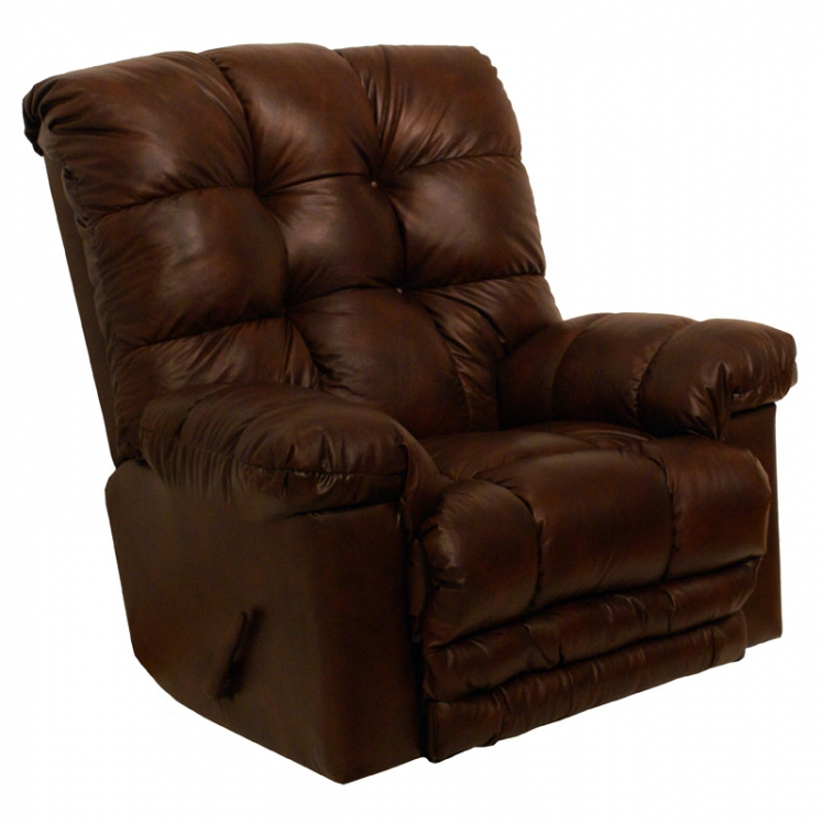 Cloud Ten Leather Chaise Rocker Recliner - Sable - Catnapper