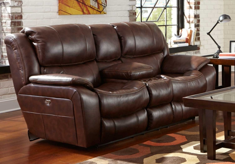 Beckett Power Reclining Console Loveseat with Storage - Cupholders - USB Port - Java