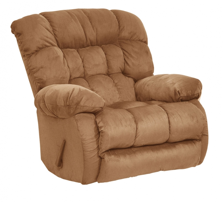 Teddy Bear Chaise Rocker Recliner - Saddle