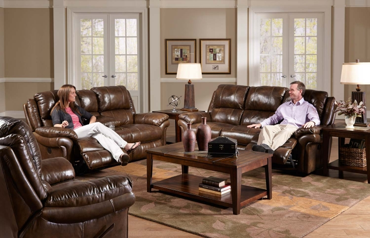 Benson Lay Flat Reclining Sofa Set - Timber