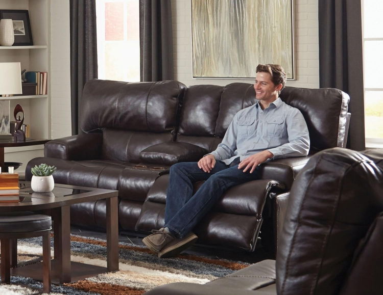 Wembley Top Grain Italian Leather Leather Power Headrest Power Lay Flat Reclining Console Loveseat - Chocolate