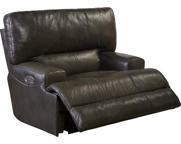 Wembley Top Grain Italian Leather Leather Power Headrest Power Lay Flat Recliner - Chocolate