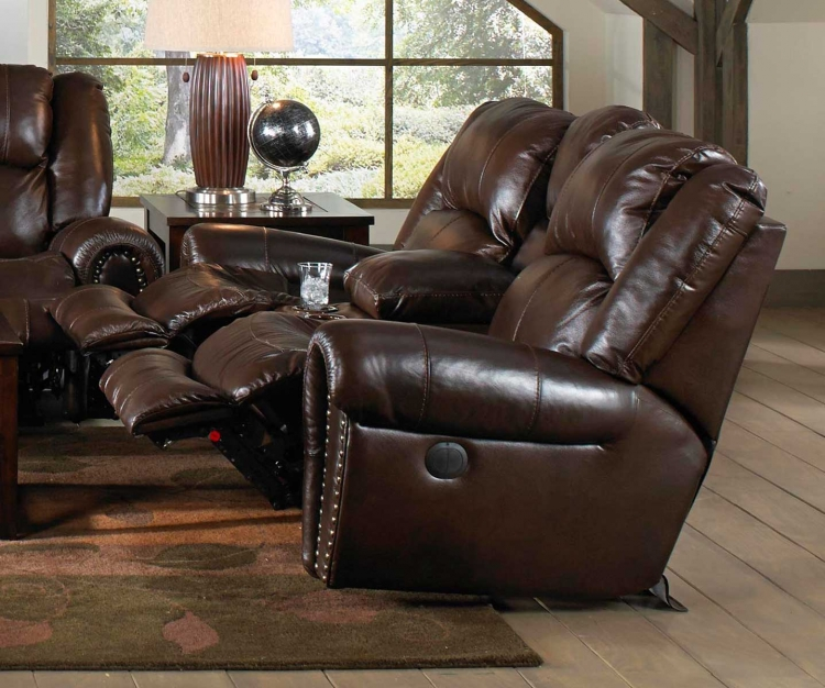 Jordan Lay Flat Reclining Console Loveseat with Storage and Cupholders - Tobacco
