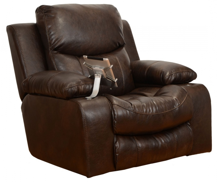 Trent Premium Bonded Leather - Glider Recliner iPad Claw and Dual Storage - Godiva - Catnapper