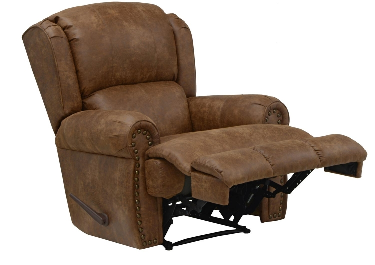 Dempsey Bonded Leather Deluxe Lay Flat Recliner - Chestnut - Catnapper