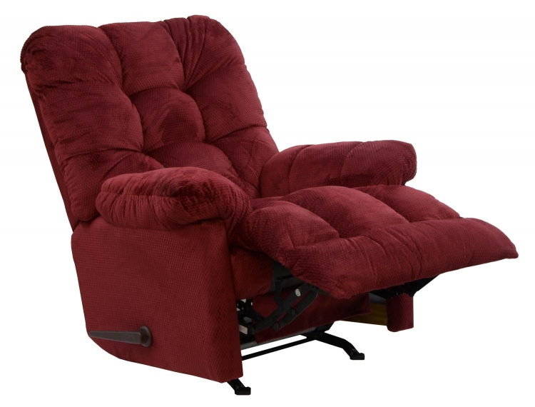 Nettles Chaise Rocker Recliner with Deluxe Heat and Massage - Merlot