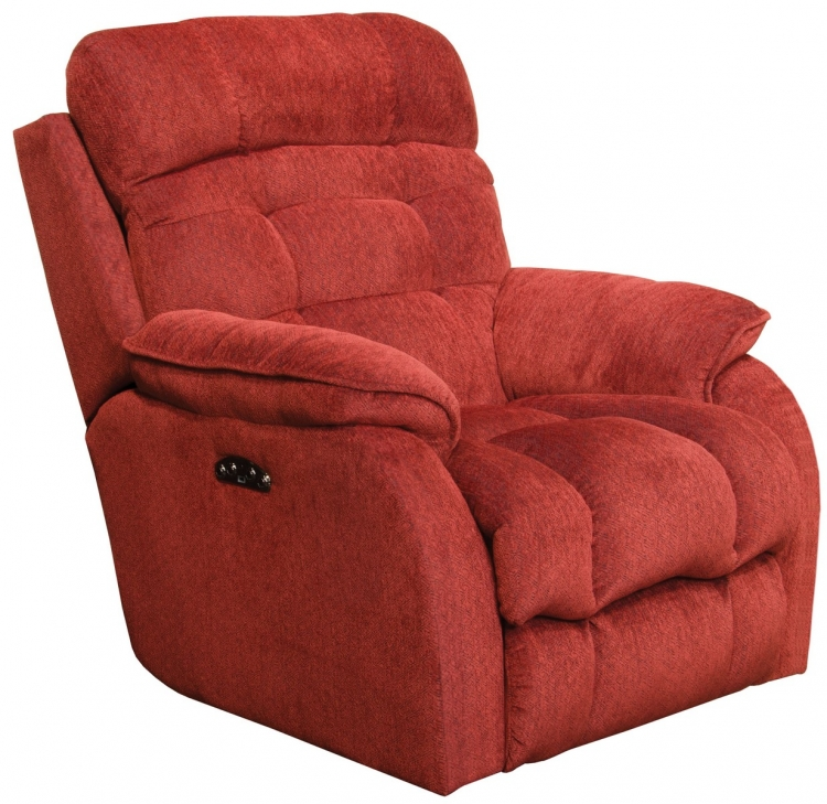 Crowley Power Lay Flat Recliner With Power Headrest - Merlot
