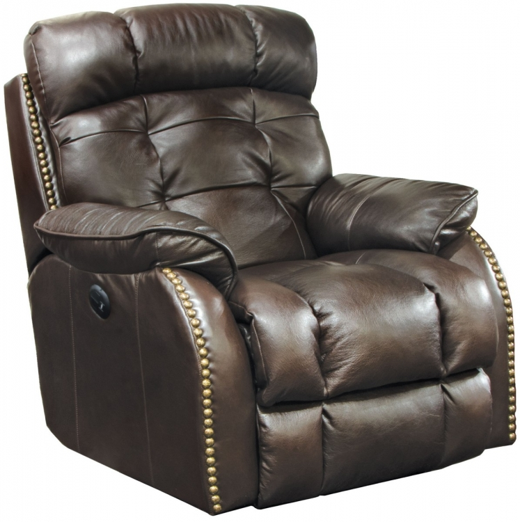 Patterson Top Grain Leather Touch Power Lay Flat Recliner - Chocolate