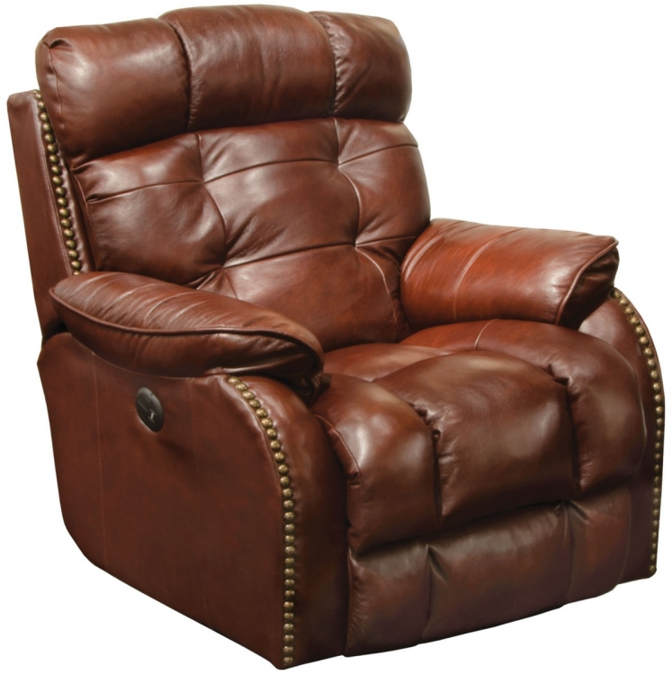 Patterson Top Grain Leather Touch Power Lay Flat Recliner - Walnut