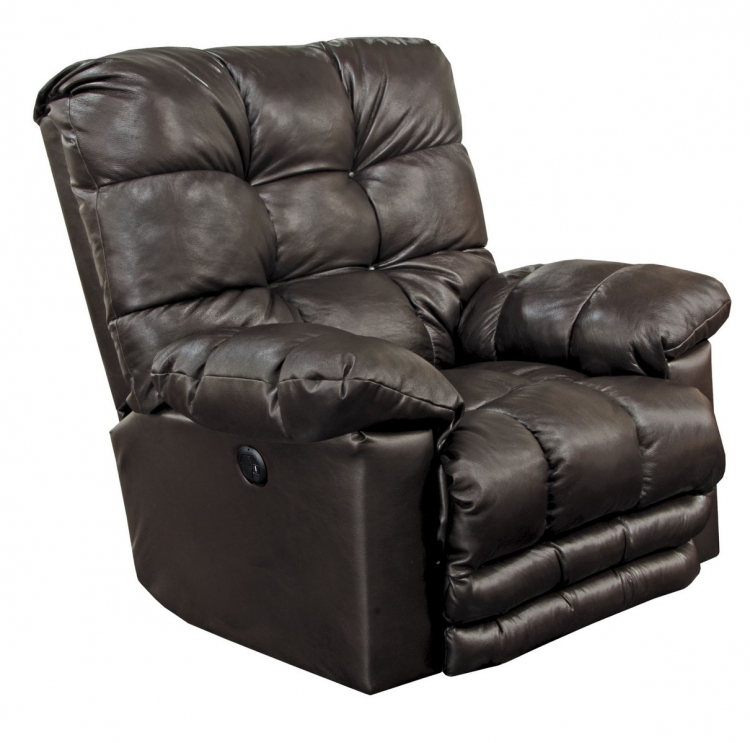 Piazza Top Grain Leather Touch Power Lay Flat Recliner withX-tra Comfort Footrest - Chocolate
