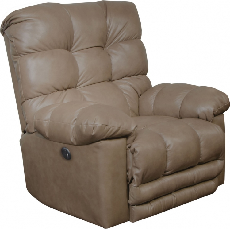 Piazza Top Grain Leather Touch Power Lay Flat Recliner withX-tra Comfort Footrest - Smoke