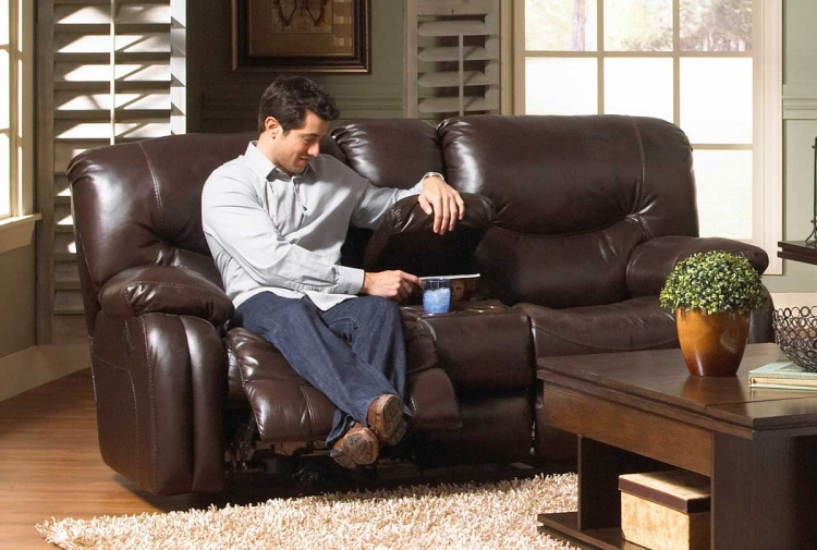 Arlington Reclining Console Loveseat with Storage and Cupholders - Mahogany - Catnapper