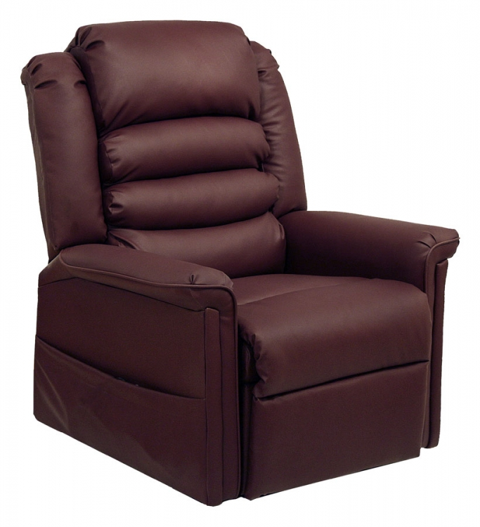 Invincible Power Lift Full Lay-Out Chaise Recliner - Cabernet
