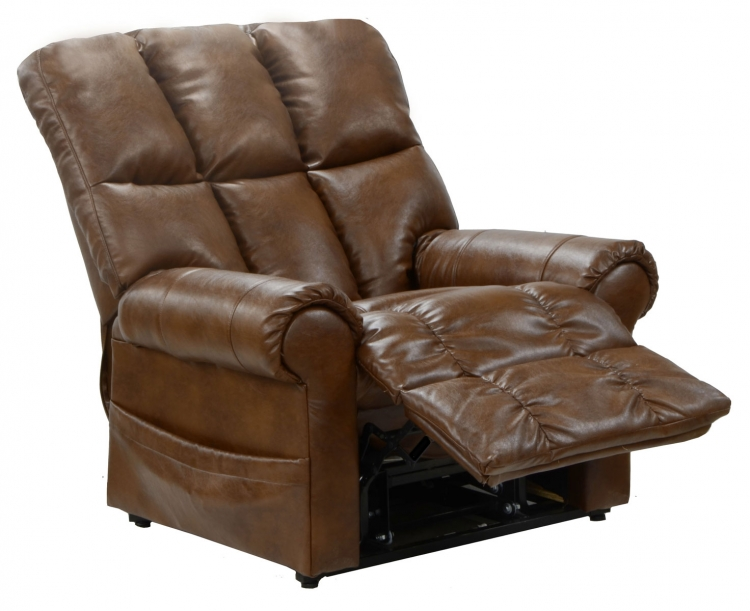 Stallworth Bonded Leather Power Lift Full Lay Out Chaise Recliner - Chestnut