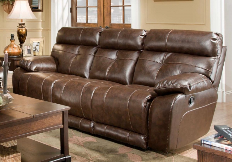 Seville Bonded Leather Reclining Sofa - Java - Catnapper