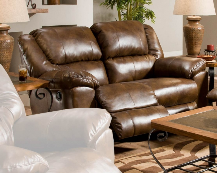 Transformer Bonded Leather Rocking Reclining Loveseat - Toast