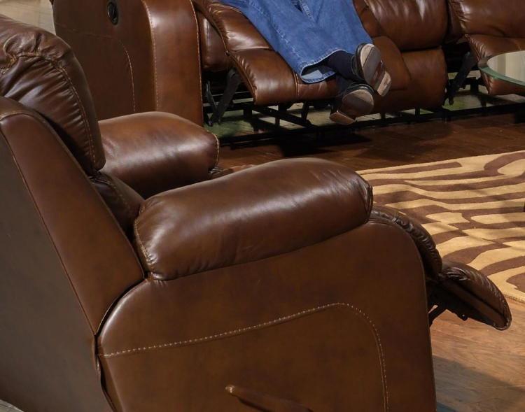 Dallas Top Grain Leather Swivel Glider Recliner - Tobacco - Catnapper