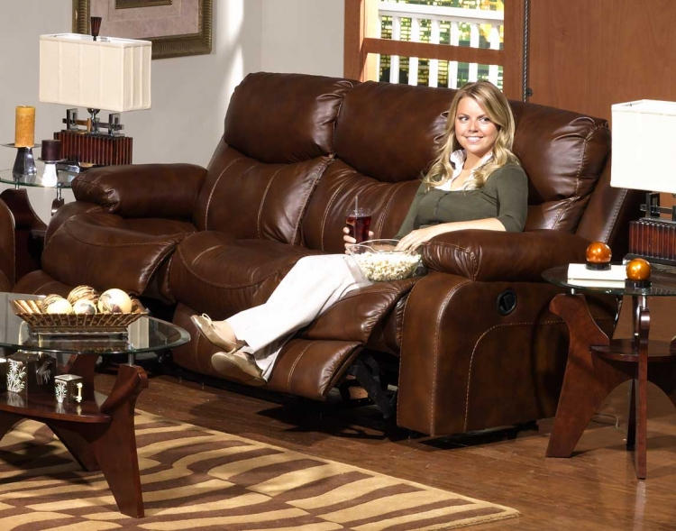 Dallas Top Grain Leather Reclining Sofa - Tobacco - Catnapper