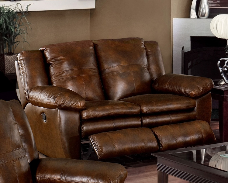 Sonoma Top Grain Leather Reclining Console Loveseat with Storage and Cupholders - Sable - Catnapper