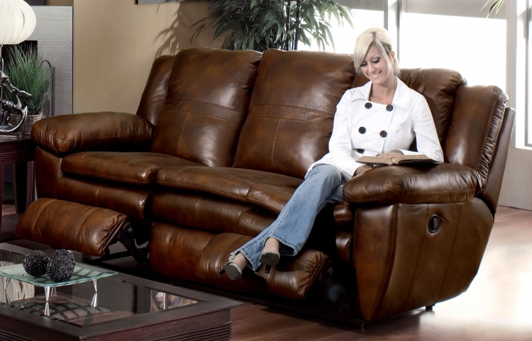 Sonoma Top Grain Leather Reclining Sofa - Sable - Catnapper