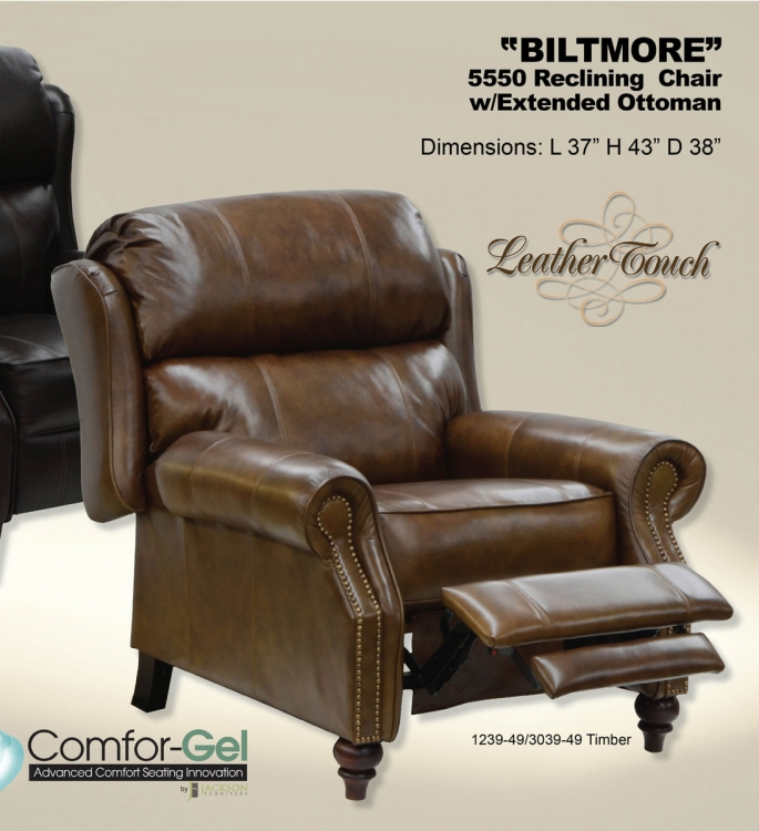 Biltmore top grain leather touch reclining chair with for Catnapper cloud 12 power chaise recliner