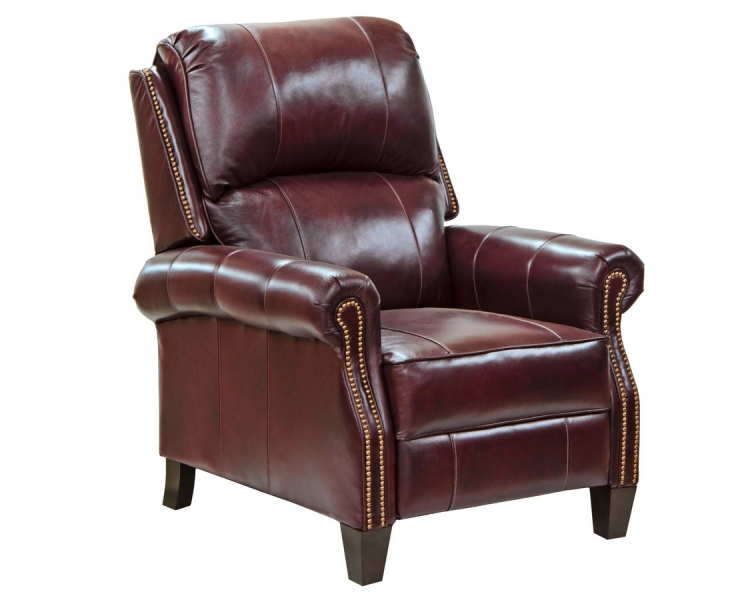 Cambridge Top Grain Leather Touch Reclining Chair with Extended Ottoman - Bordeaux