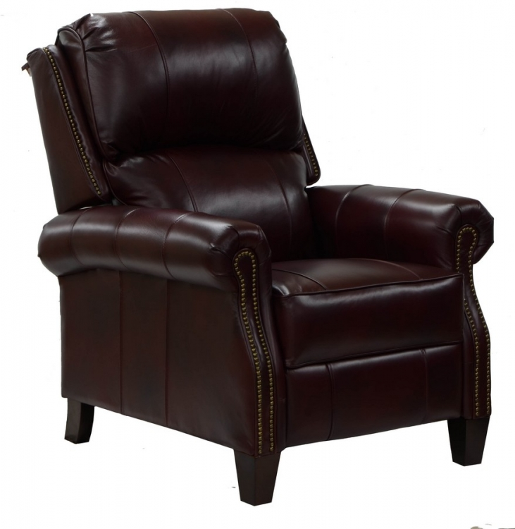 Cambridge Top Grain Leather Touch Reclining Chair with Extended Ottoman - Coffee