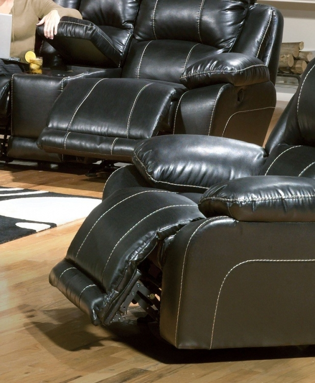 Torino Power Bonded Leather Glider Recliner - Black - Catnapper