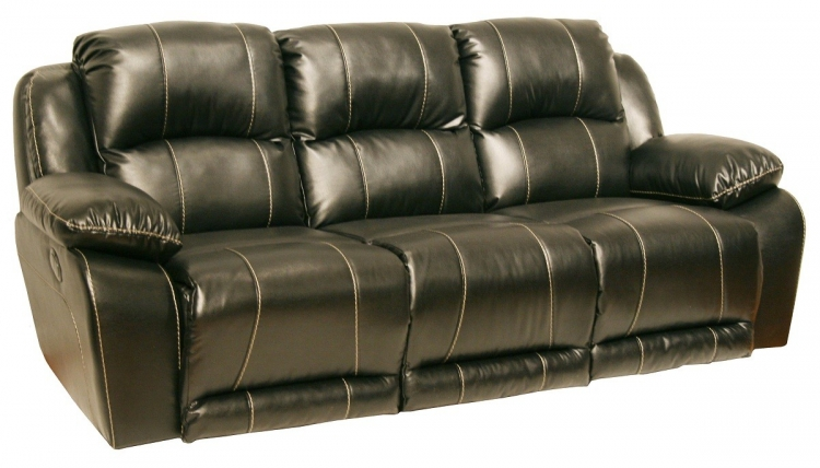 Torino Power Bonded Leather Sofa - Black - Catnapper