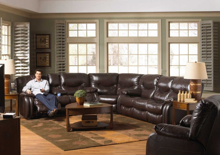 Arlington Power Sectional Sofa Set - Mahogany