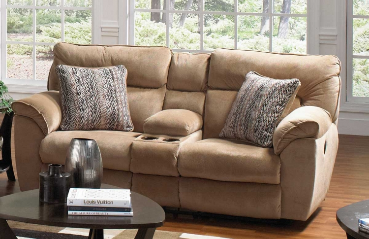Ashton Extra Wide Reclining Console Loveseat with Storage and Cupholders - Almond/Ebony - Catnapper