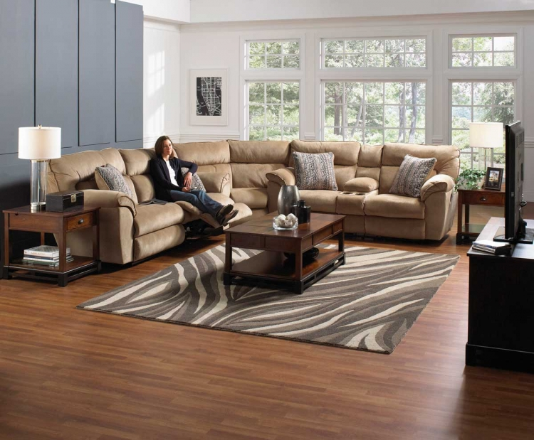 Ashton Reclining Sectional Sofa Set - Almond/Ebony - Catnapper