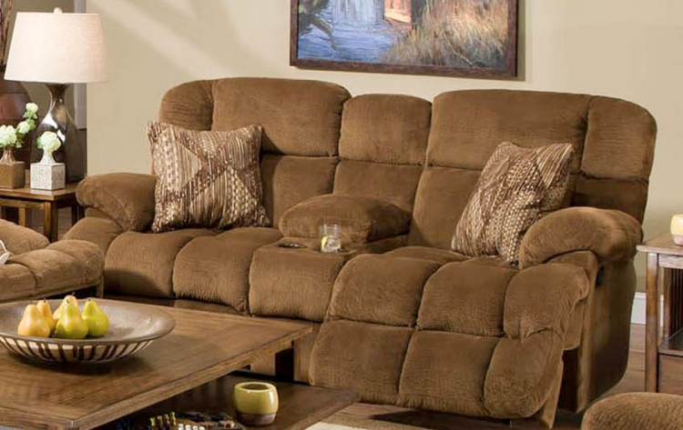 Concord Lay-Flat Reclining Console Loveseat. with Storage and Cupholders - Pecan/Copper