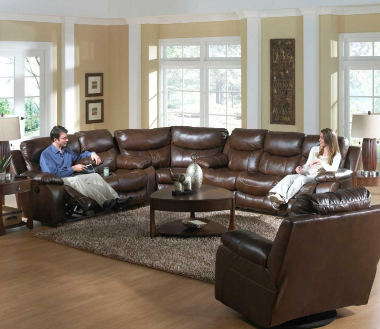 Dallas Top Grain Leather Sectional Sofa Set - Tobacco - Catnapper