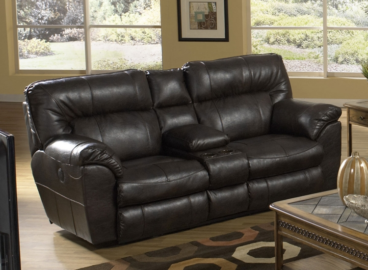Nolan Power Extra Wide Reclining Console Loveseat with Storage and Cupholders - Godiva - Catnapper