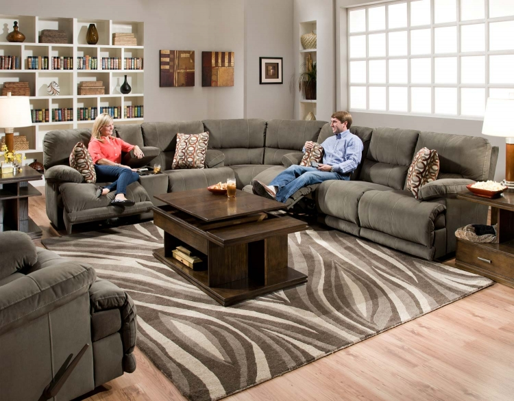 Riley Power Reclining Sectional Sofa Set - Charcoal - Catnapper