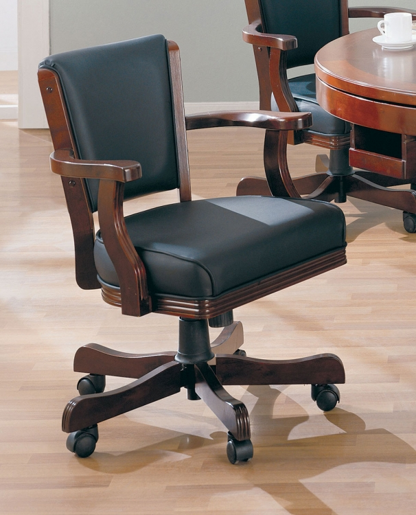 100202 Game Chair - Merlot/Black Leatherette