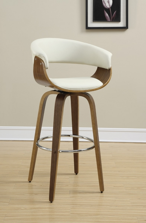100206 Bar Stool - Walnut/Ecru