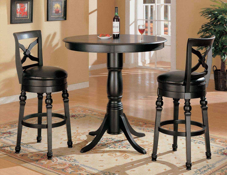 100278 3PC Bar Table Set - Black