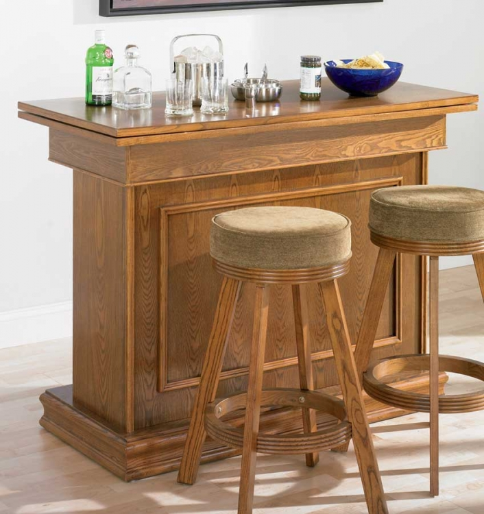 100288 Bar Unit with Game Table Settings - Oak