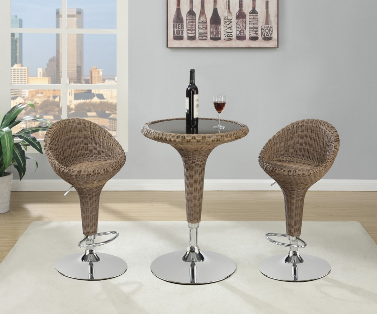 100403 Bar Set - Chrome/Natural Rattan
