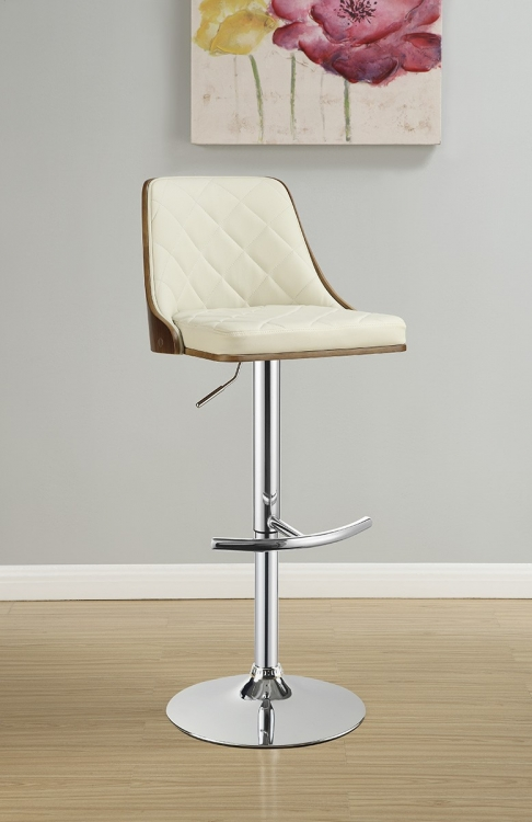 100411 Adjustable Bar Stool - Chrome/Walnut/Ecru