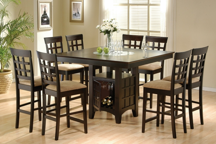 Mix and Match Counter Height Dining Table Set with Storage Pedestal Base - Cappuccino