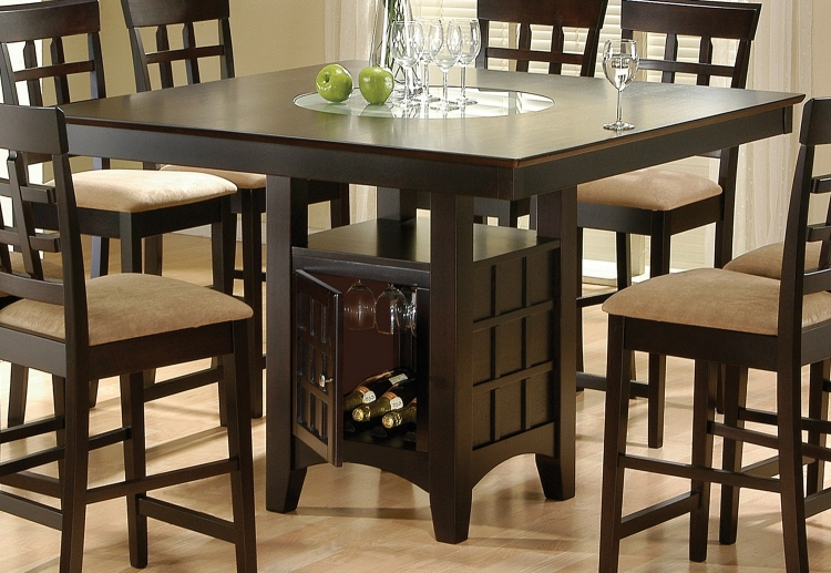Mix and Match Counter Height Dining Table with Storage Pedestal Base - Cappuccino